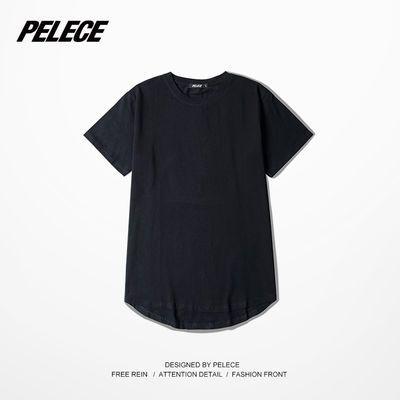 高街纯色打底圆弧下摆加长款短袖TEE 男女T恤 半袖中袖暗黑体恤