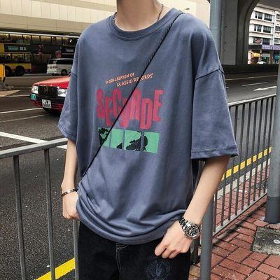 夏季ins男装韩版宽松个性复古港风百搭含棉短袖t恤男学生上衣服饰