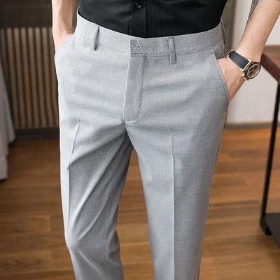 夏季薄款男士商务休闲西装长裤子韩版修身条纹直筒小脚九分西裤男