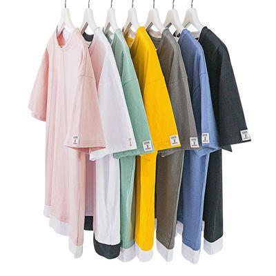 纯棉短袖t恤男学生潮流港风百搭宽松男士夏季情侣时尚半袖圆领衫