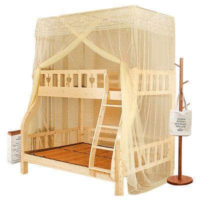 加密蚊帐子母床一体上下铺1.2米儿童床高低双层床1.5米家用公主风