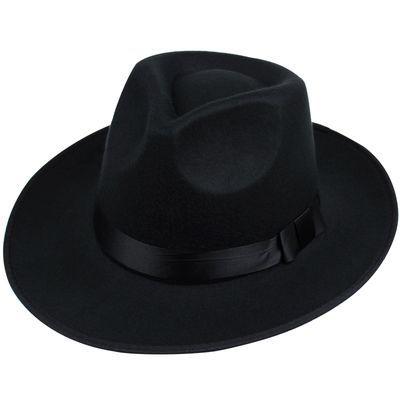 礼帽男 大帽檐复古上海滩帽子新�O帽子表演帽 黑色英伦爵士帽子男
