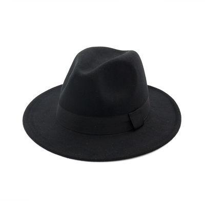 上海滩大沿礼帽男士黑色毛呢英伦帽子女爵士大毡帽新郎绅士帽复古
