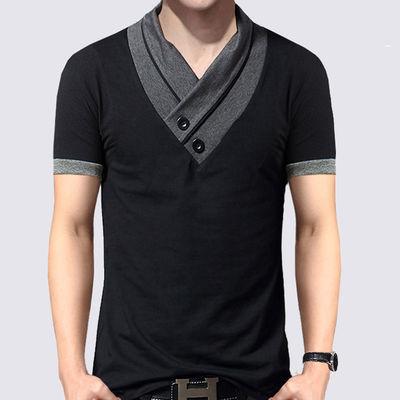 夏季男士短袖t恤男装纯棉撞色V领半袖上衣服修身加大码休闲体恤潮