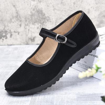 赛格黑一带女士工作软底北京老布鞋黑色拉带鞋女牛胶底加厚底女鞋