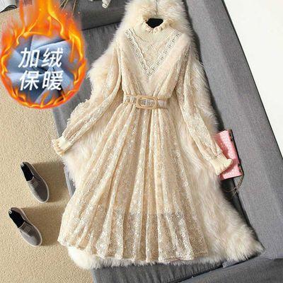 【24小时发货】 加绒/不加绒春季女装秋冬新款蕾丝裙子打底连衣裙