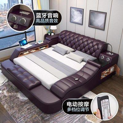 床榻榻米皮床双人床1.5米1.8米真皮床婚床储物高箱床主卧床现代床