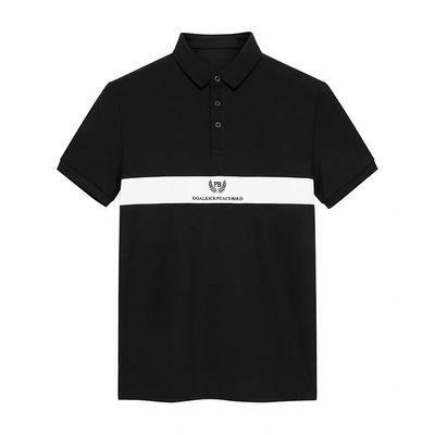 太平鸟男装2019夏季新品男士青年黑色polo恤时尚潮流白条撞色短袖