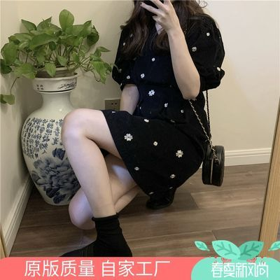 法式复古收腰连衣裙子女学生韩版2020新款春夏季修身显瘦碎花短裙