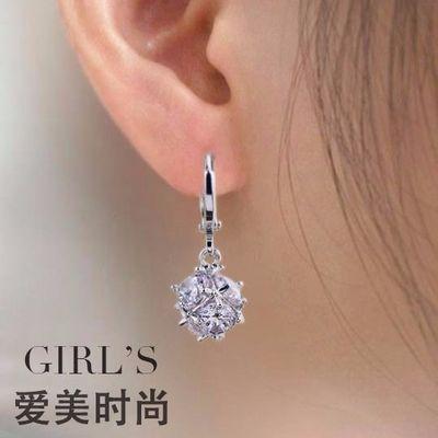 新款韩版气质水晶耳环耳钉短款百搭简约耳坠玫瑰金彩金耳扣女学生
