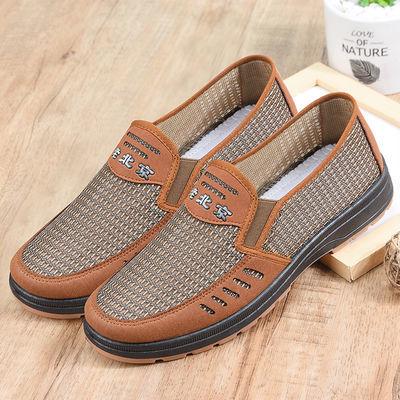新款网面老北京布鞋轻便休闲爸爸鞋橡胶底老北京布鞋一脚蹬男鞋