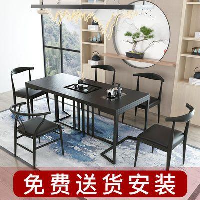 茶桌椅组合火烧石茶台家用客厅大理石桌子套装简约现代功夫茶几桌
