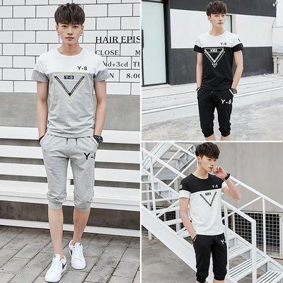 2020夏季男士休闲运动套装短袖T恤男短裤青少年韩版两件套套装男
