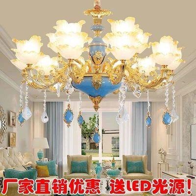欧式客厅吊灯法式餐厅灯浪漫奢华卧室吊灯简约大气别墅锌合金灯具