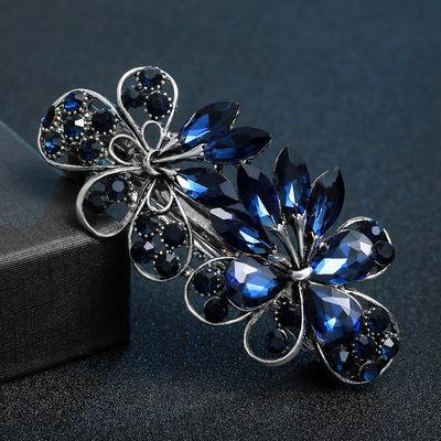 大号发夹带钻韩版高端水晶宝石弹簧夹头饰发卡顶夹横夹马尾夹头花