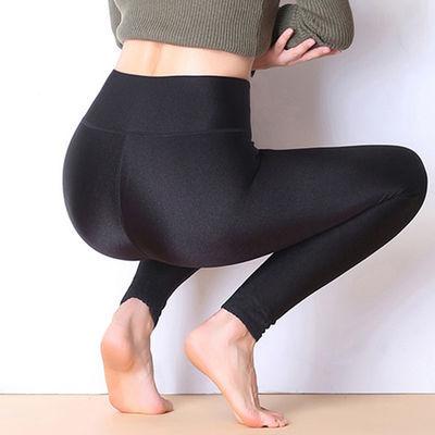 薄款加厚绒选择春秋季新款女士高腰光泽打底裤外穿大码小脚长裤子