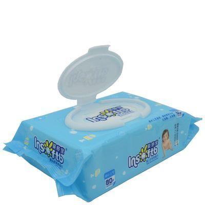 婴舒宝湿巾纸80抽手口足宝宝婴儿护肤柔棉带盖湿巾5包