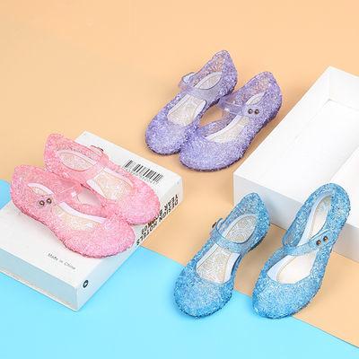 【HM&AE】冰雪奇缘女童凉鞋2020夏新款水晶洞洞鞋软底透气公主鞋