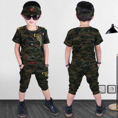 男童夏装套装2019新款夏季4儿童迷彩服5短袖t恤9男孩军装10中大童