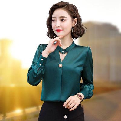 雪纺衬衫女长袖春秋季2020新款韩版宽松百搭洋气衬衣打底衫上衣