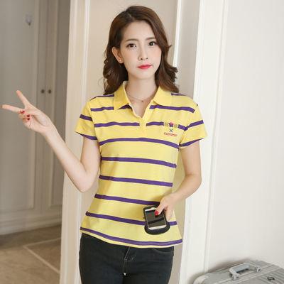 韩版翻领条纹polo衫女休闲有领短袖女大码运动t恤女宽松上衣女生
