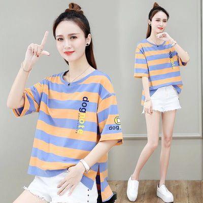 【棉】条纹短袖T恤女2020年夏季新款ins韩版宽松女装大码百搭上衣
