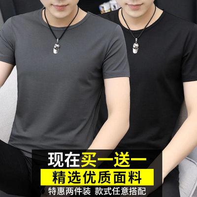 【买一送一】短袖t恤男士打底衫V圆领纯色修身半袖潮学生运动体恤