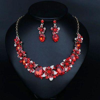 欧美奢华彩色花朵水晶宝石锁骨链夸张女项链耳环套装晚宴礼服配饰