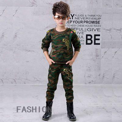[清仓特价]纯棉男童装长袖套新款男孩迷彩装12岁中大童春秋两件套
