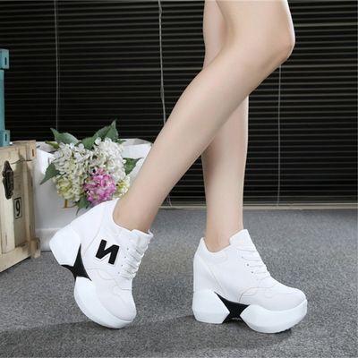 2020春季新款厚底超高跟10cm内增高运动鞋休闲松糕底女鞋坡跟单鞋