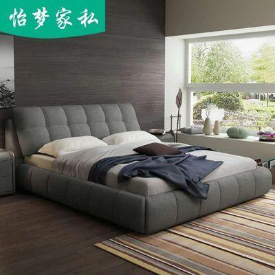北欧布艺床可拆洗主卧现代简约榻榻米软包储物小户型双人床