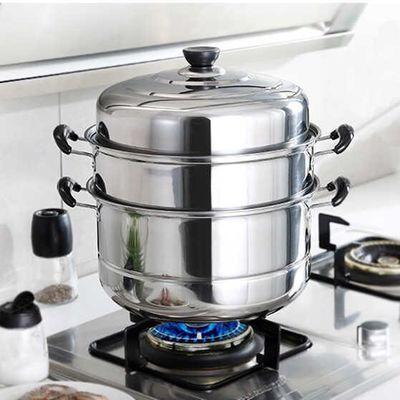 不锈钢蒸锅三层二层加厚蒸锅汤锅加大加高款电磁炉煤气炉26-32cm