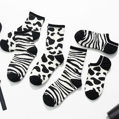 4双装豹纹袜子女秋季中筒袜ins潮个性长筒袜船袜日系网红冬季加厚