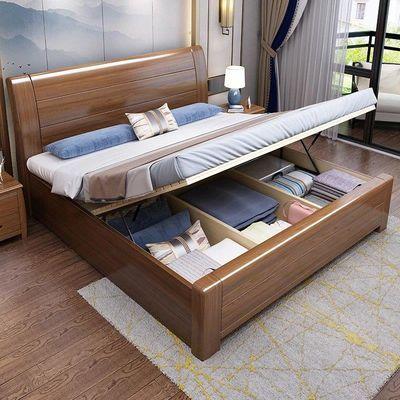 进口金丝胡桃木中式实木床1.8米床1.5m简约现代主卧储物双人婚床
