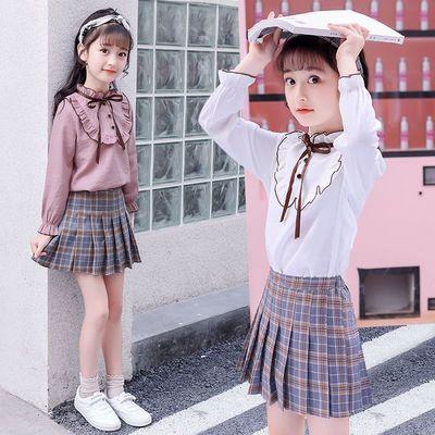女童花边衬衫格子裙套装2020春秋小女孩中大童儿童时尚衬衫二件套