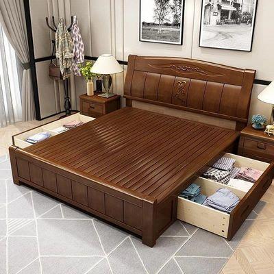 床实木床双人床1.8米床主卧1.5米木头大床成人高箱储物婚床家具