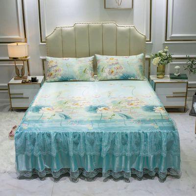 床裙三件套 凉席冰丝席床裙枕套冰丝凉席三件套 韩版公主床裙