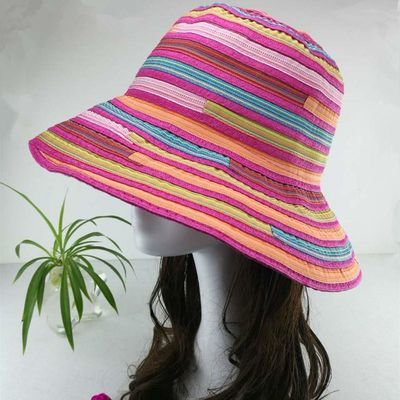 渔夫帽防�鹈弊优�春夏季遮阳帽子沙滩帽彩色布条纹便携可折叠盆帽