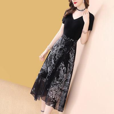 气质动人黑色短袖不规则连衣裙女中长款2020新款清新流行夏天裙子