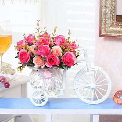 自行车假花仿真花车家居卧室客厅盆栽酒柜桌面餐桌花艺装饰摆件花