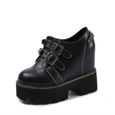 2020春季新款内增高女鞋松糕鞋厚底12cm超高跟坡跟深口休闲皮单鞋