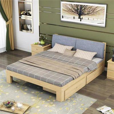 简易实木床1.8米经济型软靠双人床1.5米现代简约出租房成人单人床