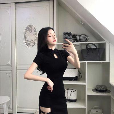 韩版港味夏季2019新款复古旗袍领性感不规则下摆收腰包臀连衣裙潮