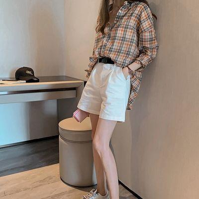 格子衬衫女复古港味春装2020年新款遮肚小衫洋气时尚宽松天丝上衣