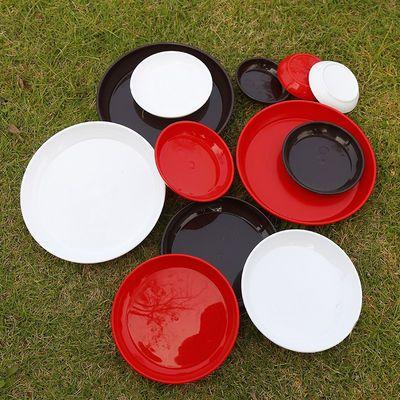 三色仿瓷加厚树脂托盘 陶瓷花盆底托接水盘移动底托花盆底座底垫