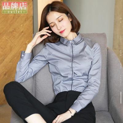 职业衬衫女长袖2020新款正装春秋季工装免烫工作服灰色打底衬衣棉