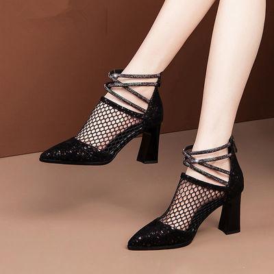 64024/凉靴女粗跟性感水钻镂空网纱尖头高跟鞋2020春夏新款时尚百搭凉鞋