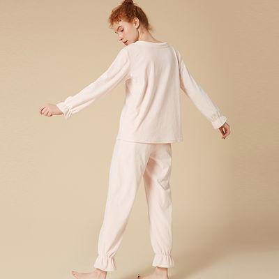 弗利少女FREELASS粉色清新可爱海岛绒睡衣套装家居服舒适保暖