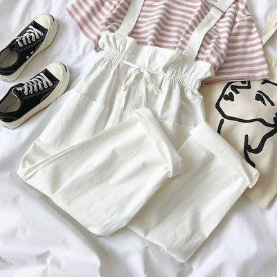 背带裤女夏裤子女学生韩版宽松套装时尚2020新款宽松ins黑色薄款