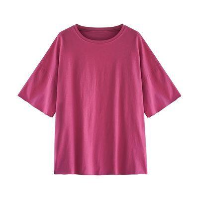含棉90-200斤胖妹妹大码女装新款糖果色短袖T恤女中长款宽松上衣
